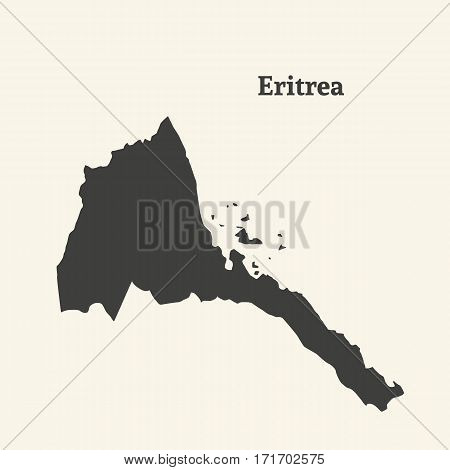 Outline map of Eritrea. Isolated vector illustration.