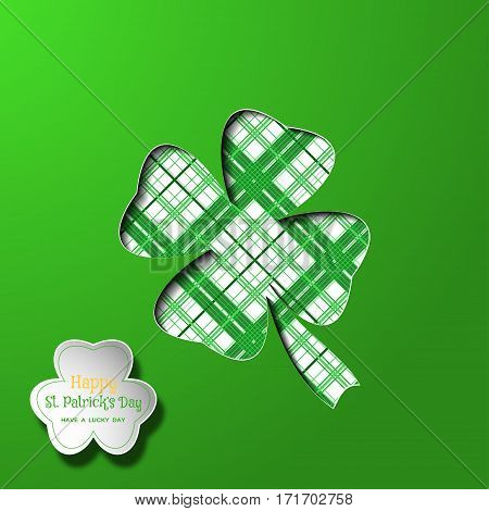Vector Happy St. Patrick's Day poster on the green gradient background leaf of clover cutout silhouette white shape and line pattern shadow text.
