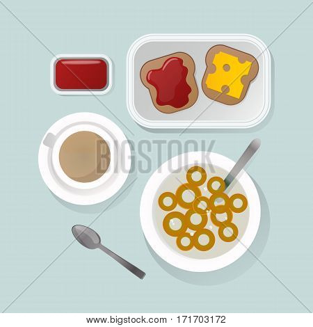 Semolina porridge with pumpkin and dates. Healthy white breakfast with berries. Organic cereal meal pudding dessert sweet milk vector food bowl.