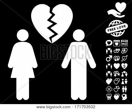 Family Divorce icon with bonus amour clip art. Vector illustration style is flat iconic white symbols on black background.