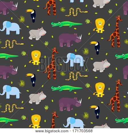 Zoo animals kid seamless pattern vector. Giraffe, lion, rhino, crocodile, snake and hippo on gray background.