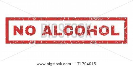 No Alcohol text rubber seal stamp watermark. Tag inside rectangular shape with grunge design and scratched texture. Horizontal vector red ink sign on a white background.