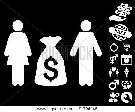 Family Money Deposit icon with bonus dating pictures. Vector illustration style is flat iconic white symbols on black background.