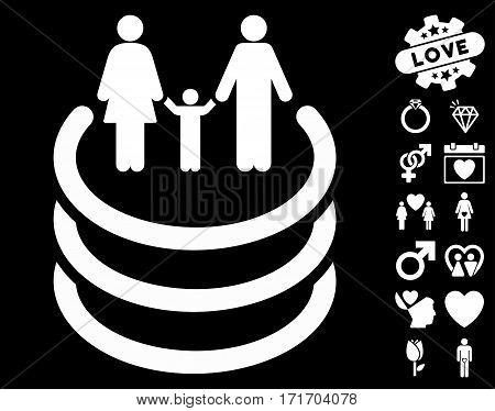 Family Portal pictograph with bonus valentine images. Vector illustration style is flat iconic white symbols on black background.