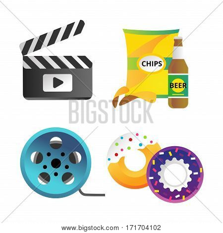 Clapper board and cinema icons vector illustration. Movie action black camera clap. Cinematography hollywood production director wooden shot blank equipment.
