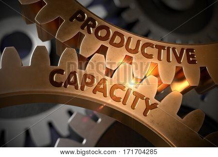 Productive Capacity on Golden Metallic Cogwheels. Productive Capacity on the Mechanism of Golden Metallic Gears. 3D Rendering.
