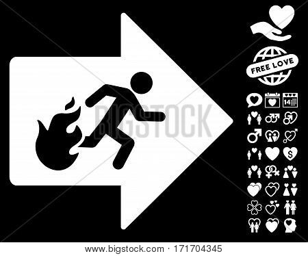 Fire Exit pictograph with bonus lovely pictograph collection. Vector illustration style is flat iconic white symbols on black background.