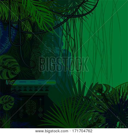 Tropical spinney foliage jungle nature background. Dark green and blue palm leaves, tree branches and old ruins vector.