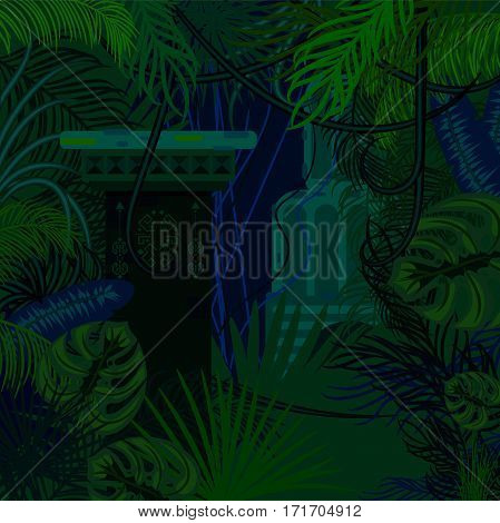Thicket foliage jungle nature background. Dark night green and blue palm leaves, tree branches and mayan columns vector.