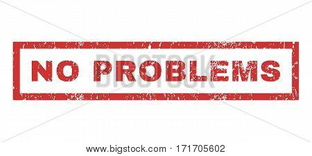 No Problems text rubber seal stamp watermark. Caption inside rectangular banner with grunge design and unclean texture. Horizontal vector red ink sign on a white background.