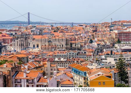 Panoramic view from the viewpoint of the Graça district in Lisbon, Portugal