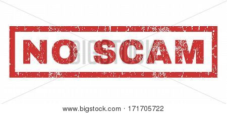 No Scam text rubber seal stamp watermark. Caption inside rectangular shape with grunge design and dirty texture. Horizontal vector red ink emblem on a white background.