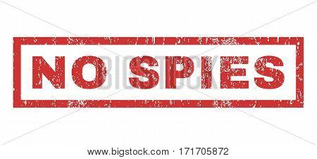 No Spies text rubber seal stamp watermark. Caption inside rectangular banner with grunge design and unclean texture. Horizontal vector red ink emblem on a white background.