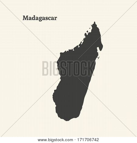 Outline map of Madagascar. Isolated vector illustration.