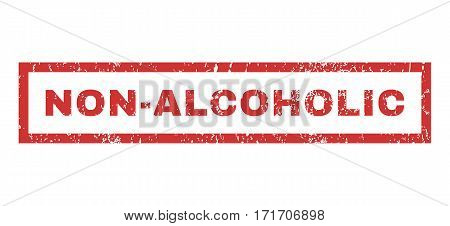 Non-Alcoholic text rubber seal stamp watermark. Tag inside rectangular banner with grunge design and unclean texture. Horizontal vector red ink sticker on a white background.