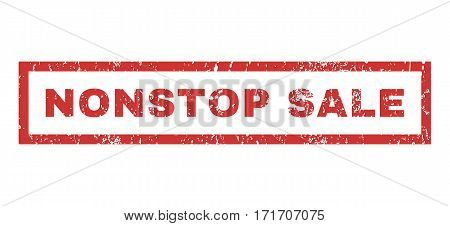 Nonstop Sale text rubber seal stamp watermark. Tag inside rectangular banner with grunge design and dirty texture. Horizontal vector red ink sign on a white background.