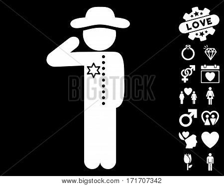 Gentleman Officer pictograph with bonus amour images. Vector illustration style is flat iconic white symbols on black background.
