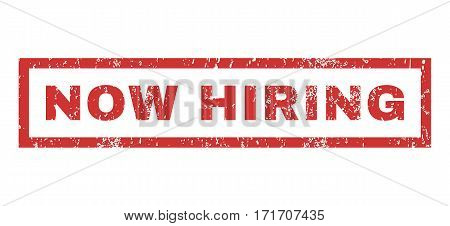 Now Hiring text rubber seal stamp watermark. Caption inside rectangular banner with grunge design and dust texture. Horizontal vector red ink sticker on a white background.