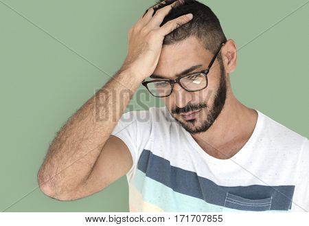 Middle Eastern Man Curious Stress Thinking Studio Portrait