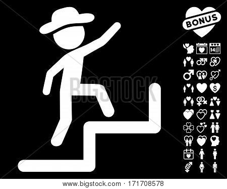 Gentleman Steps Upstairs icon with bonus dating design elements. Vector illustration style is flat iconic white symbols on black background.