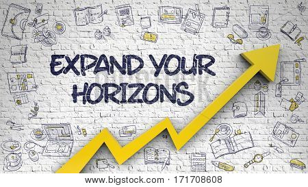 Expand Your Horizons - Line Style Illustration with Doodle Design Elements. Expand Your Horizons - Improvement Concept. Inscription on the White Brickwall with Doodle Icons Around.