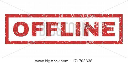 Offline text rubber seal stamp watermark. Tag inside rectangular banner with grunge design and scratched texture. Horizontal vector red ink emblem on a white background.