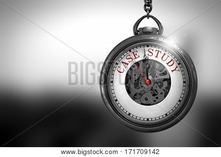 Pocket Watch with Case Study Text on the Face. Case Study on Vintage Watch Face with Close View of Watch Mechanism. Business Concept. 3D Rendering.