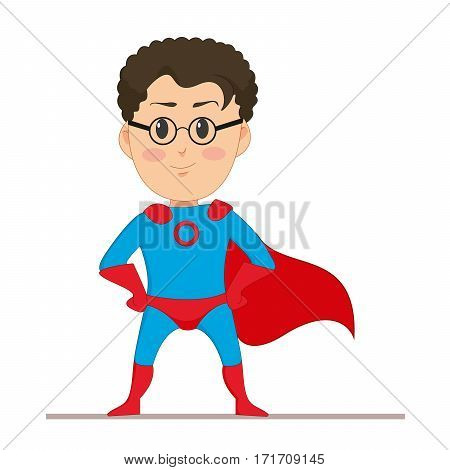Young man in super hero costume. The man in glasses with developing a red cape on his back. Flat character isolated on white background. Vector, illustration EPS10