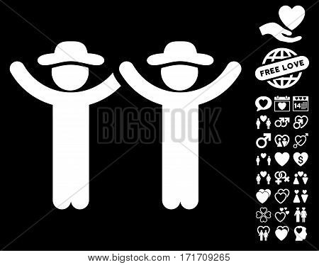 Hands Up Gentlemen icon with bonus passion pictograph collection. Vector illustration style is flat iconic white symbols on black background.