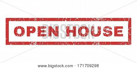 Open House text rubber seal stamp watermark. Caption inside rectangular banner with grunge design and unclean texture. Horizontal vector red ink sticker on a white background.