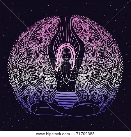 Young pretty girl doing yoga. Vintage decorative vector illustration. Hand drawn background. Mehendi ornate decorative style. Yoga studio concept Indian Hindu motifs.