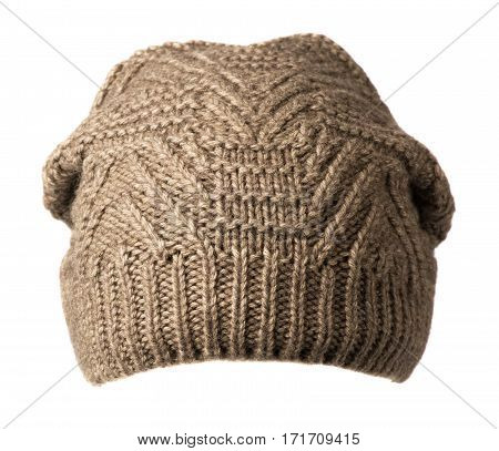 Hat Isolated On White Background .knitted Hat.light Brown