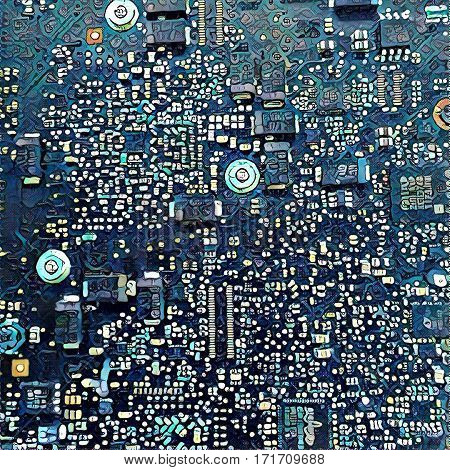Electronic chip digital illustration. Technological background. Futuristic design for print poster or banner template. Motherboard closeup image. Computer circuit. Artificial intelligence picture