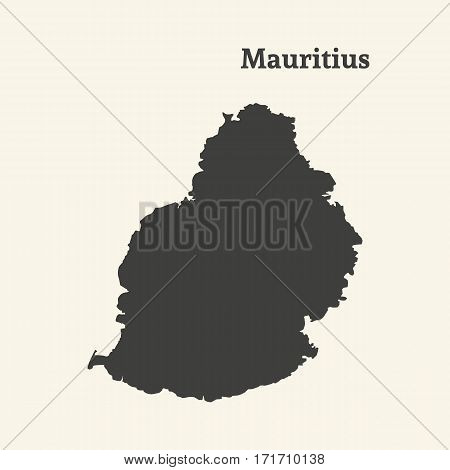 Outline map of Mauritius. Isolated vector illustration.