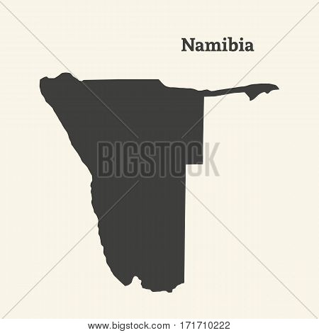 Outline map of Namibia. Isolated vector illustration.