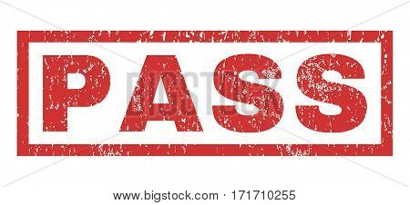 Pass text rubber seal stamp watermark. Tag inside rectangular banner with grunge design and dust texture. Horizontal vector red ink emblem on a white background.