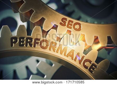 SEO Performance on the Mechanism of Golden Metallic Cog Gears. SEO Performance Golden Metallic Gears. 3D Rendering.