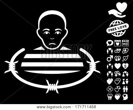 Isolated Prisoner icon with bonus love pictograph collection. Vector illustration style is flat iconic white symbols on black background.