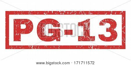 Pg-13 text rubber seal stamp watermark. Caption inside rectangular shape with grunge design and unclean texture. Horizontal vector red ink sign on a white background.