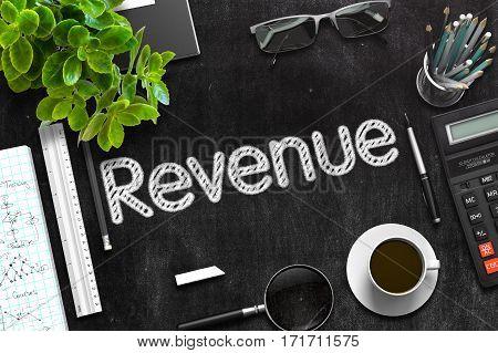 Revenue Concept on Black Chalkboard. 3d Rendering. Toned Image.