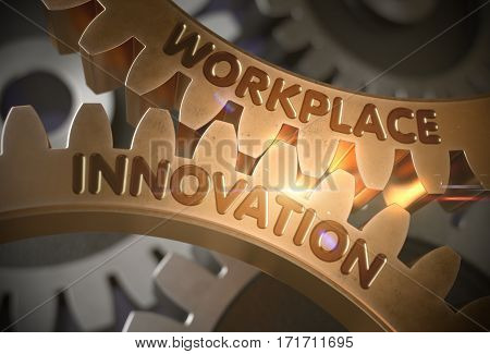 Workplace Innovation Golden Metallic Cog Gears. Workplace Innovation - Technical Design. 3D Rendering.