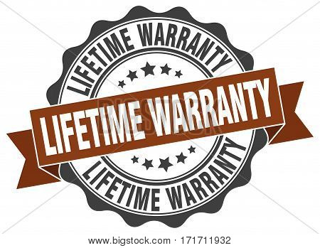 lifetime warranty. stamp. sign. seal. round. retro. ribbon
