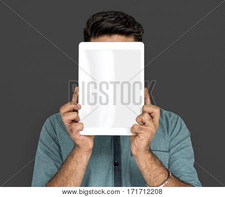 Man Hold Blank Digital Tablet Copy Space