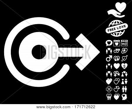 Log Out pictograph with bonus lovely pictograph collection. Vector illustration style is flat iconic white symbols on black background.