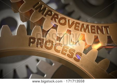 Improvement Process - Concept. Improvement Process on the Mechanism of Golden Metallic Cog Gears. 3D Rendering.