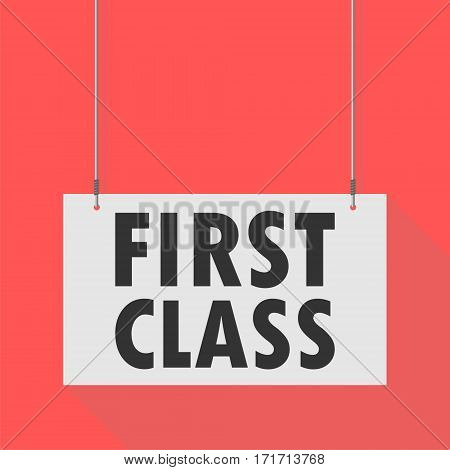 Hanging Sign first class on red background