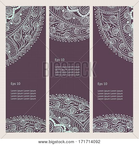 Beautiful Indian floral ornament. Persian Ethnic Mandala. Henna tattoo style banners could be used as greeting card business card phone case print shirt print