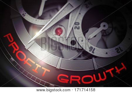 Luxury Wristwatch with Profit Growth on the Face, Symbol of Time. Men Pocket Watch Machinery Macro Detail with Inscription Profit Growth. Time Concept with Glow Effect and Lens Flare. 3D Rendering.