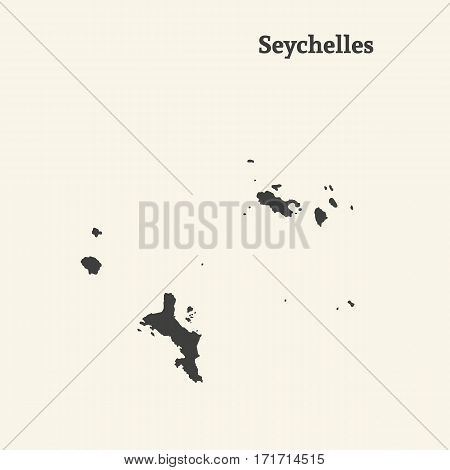 Outline map of Seychelles. Isolated vector illustration.