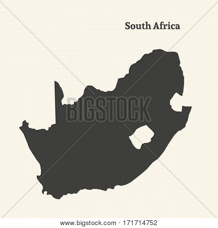 Outline map of South Africa. Isolated vector illustration.